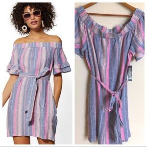Stripe Linen Off-The-Shoulder Shift Dress